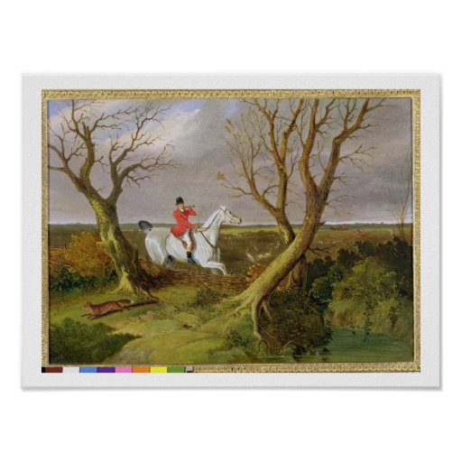The Suffolk Hunt - Gone Away (oil on canvas) Poster