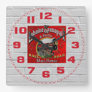 The Sugar Cane Train with Baldwin Locomotives Square Wall Clock