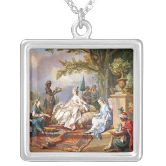The Sultana Served by her Eunuchs Square Pendant Necklace