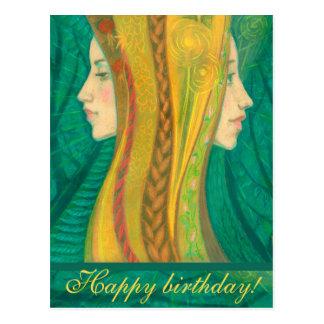 The Summer, forest fantasy art, birthday greetings Postcard