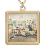 The Summer Room in the Artist's House at Patna, In Square Pendant Necklace