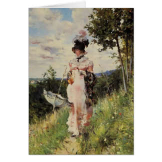 The Summer Stroll by Giovanni Boldini Greeting Card