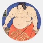 The Sumo Wrestler, Kuniyoshi Utagawa Classic Round Sticker