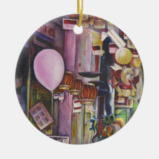 The Sun and Moon Pink Balloon, Singapore Double-Sided Ceramic Round Christmas Ornament