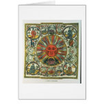The Sun and the Zodiac, Russian, late 18th century Greeting Cards