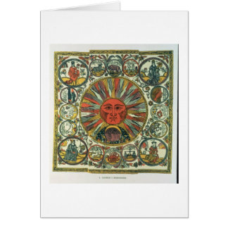 The Sun and the Zodiac, Russian, late 18th century Greeting Card