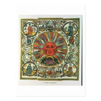 The Sun and the Zodiac, Russian, late 18th century Postcard