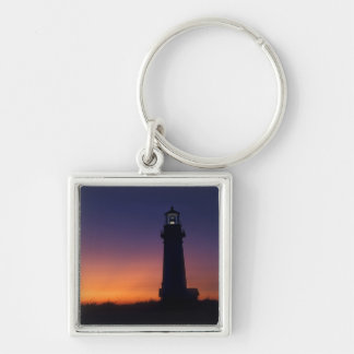 The sun ball drops down on the colorful horizon keychain