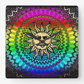 The Sun God on Colors of THe Sun Square Wall Clock