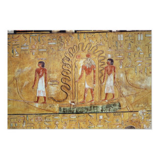 The sun god Ra in his solar barque Posters