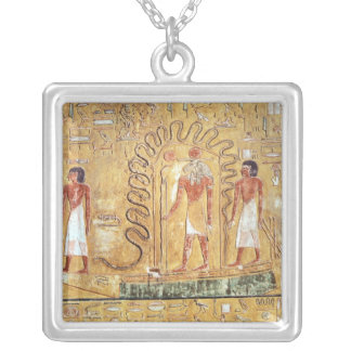 The sun god Ra in his solar barque Silver Plated Necklace