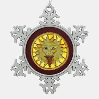 The Sun God (Ra) Snowflake Pewter Christmas Ornament