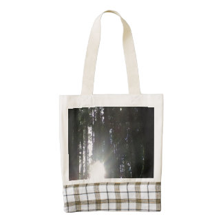 The sun in the forest zazzle HEART tote bag