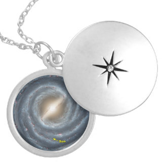 The Sun in the Milky Way Round Locket Necklace