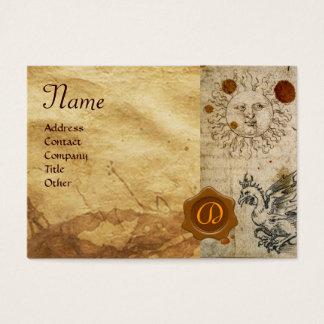 THE SUN ,MOON AND BASILISK BROWN WAX SEAL Monogram Business Card