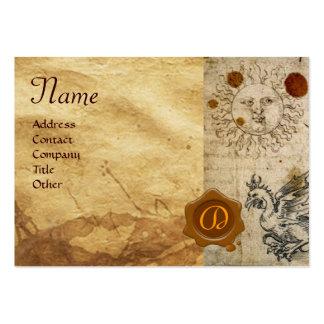 THE SUN ,MOON AND BASILISK BROWN WAX SEAL Monogram Large Business Card