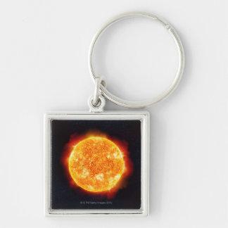 The Sun que muestra llamaradas solares contra una  Llaveros Personalizados