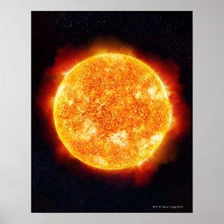 The Sun que muestra llamaradas solares contra una  Póster