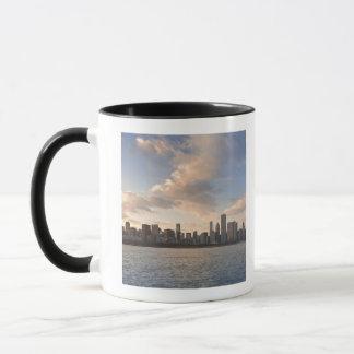 The sun sets over Lake Michigan and the Chicago Mug