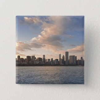 The sun sets over Lake Michigan and the Chicago Pinback Button