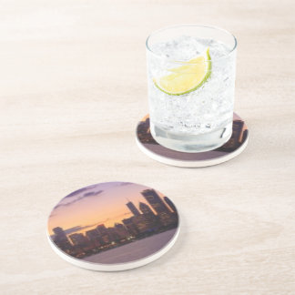 The sun sets over the Chicago skyline Drink Coaster