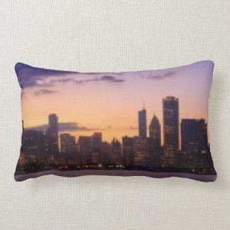 The sun sets over the Chicago skyline Pillow