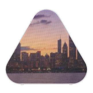The sun sets over the Chicago skyline Speaker
