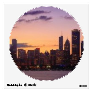 The sun sets over the Chicago skyline Room Decals