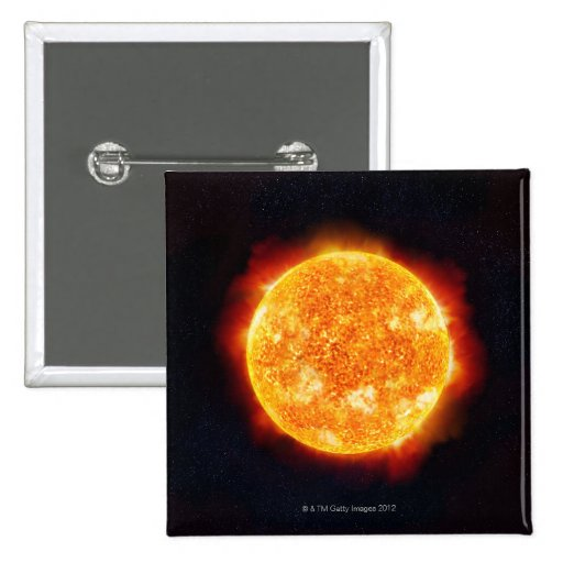 The Sun showing solar flares against a star Pinback Buttons