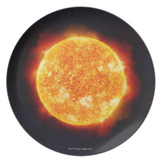 The Sun showing solar flares against a star Dinner Plate
