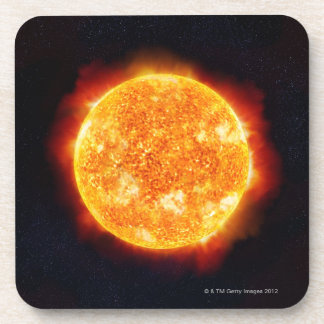 The Sun showing solar flares against a star Drink Coaster
