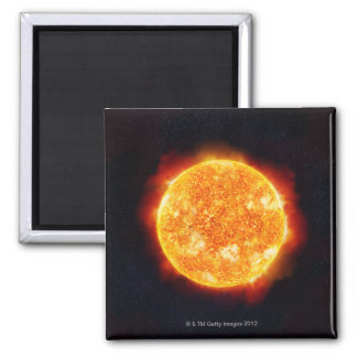 The Sun showing solar flares against a star Magnet