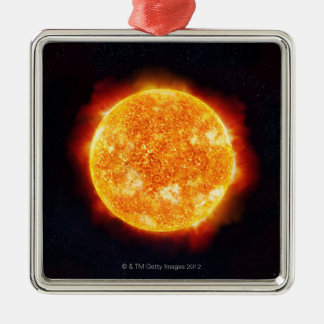 The Sun showing solar flares against a star Metal Ornament