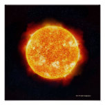 The Sun showing solar flares against a star Print