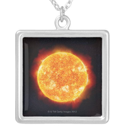 The Sun showing solar flares against a star Silver Plated Necklace