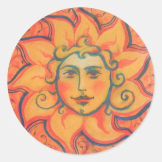 The Sun, sunface, yellow orange red, fantasy art Classic Round Sticker