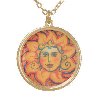 The Sun, sunface, yellow orange red, fantasy art Gold Plated Necklace