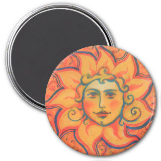 The Sun, sunface, yellow orange red, fantasy art Magnet