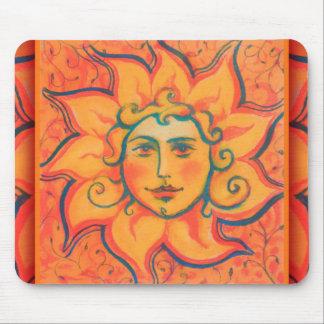 The Sun, sunface, yellow orange red, fantasy art Mouse Pad