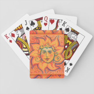The Sun, sunface, yellow orange red, fantasy art Playing Cards