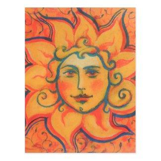 The Sun, sunface, yellow orange red, fantasy art