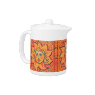 The Sun, sunface, yellow orange red, fantasy art Teapot