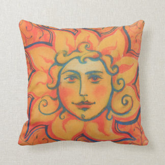 The Sun, sunface, yellow orange red, fantasy art Throw Pillow