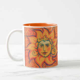 The Sun, sunface, yellow orange red, fantasy art Two-Tone Coffee Mug