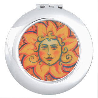 The Sun, sunface, yellow orange red, fantasy art Vanity Mirror