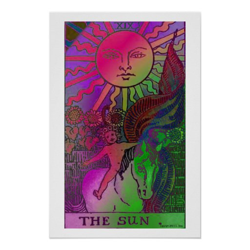 The Sun Tarot Card Psychedelic Poster