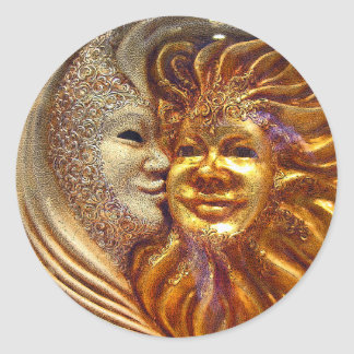 The Sun, The Moon, The Kiss Round Stickers