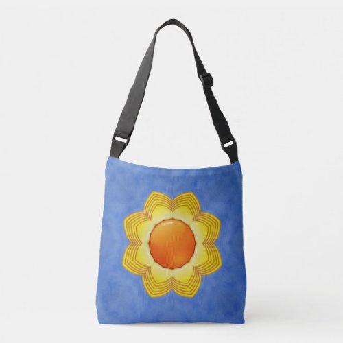 The Sun Vintage Orange Yellow Blue Kaleidoscope Crossbody Bag