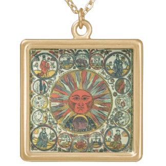 The Sun y el zodiaco, ruso, fin del siglo XVIII Colgante Cuadrado