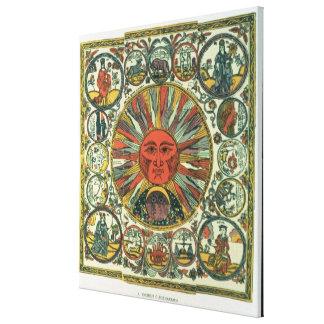 The Sun y el zodiaco, ruso, fin del siglo XVIII Lienzo Envuelto Para Galerías